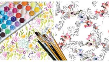 Ткани Aquarelle и Kimono. Акварель на ткани.