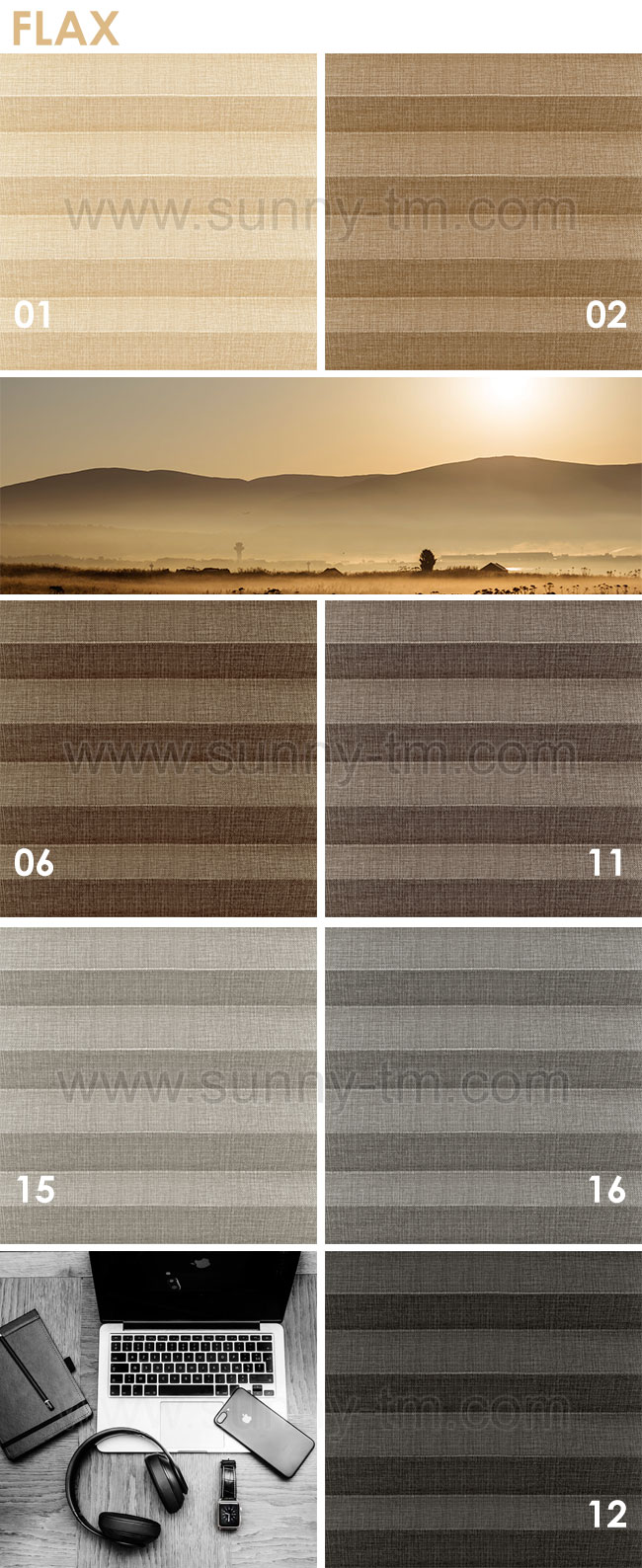 Flax fabric for Plisse blinds