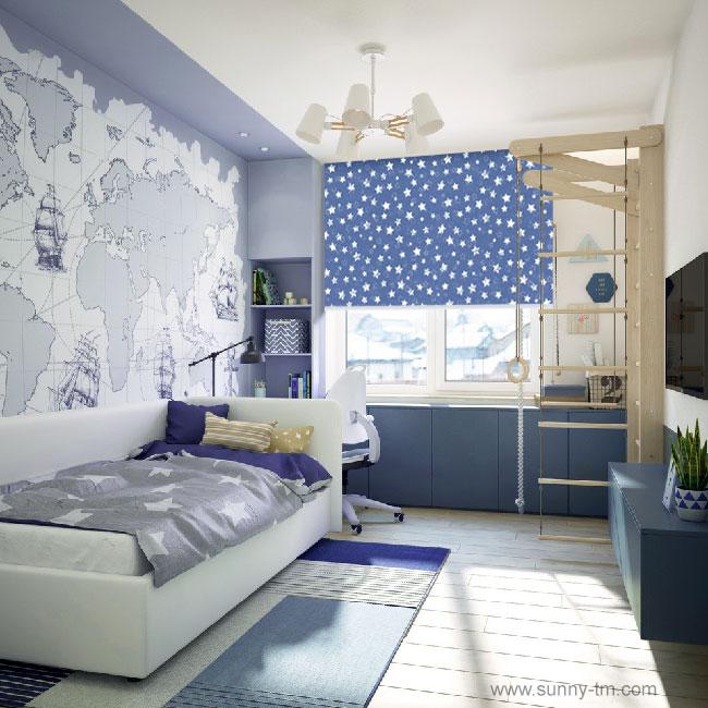 Новая ткань для детских комнат - Stars BO Dark Blue